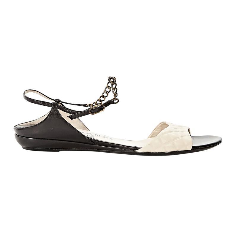 Black & Beige Chanel Leather Flat Sandals For Sale