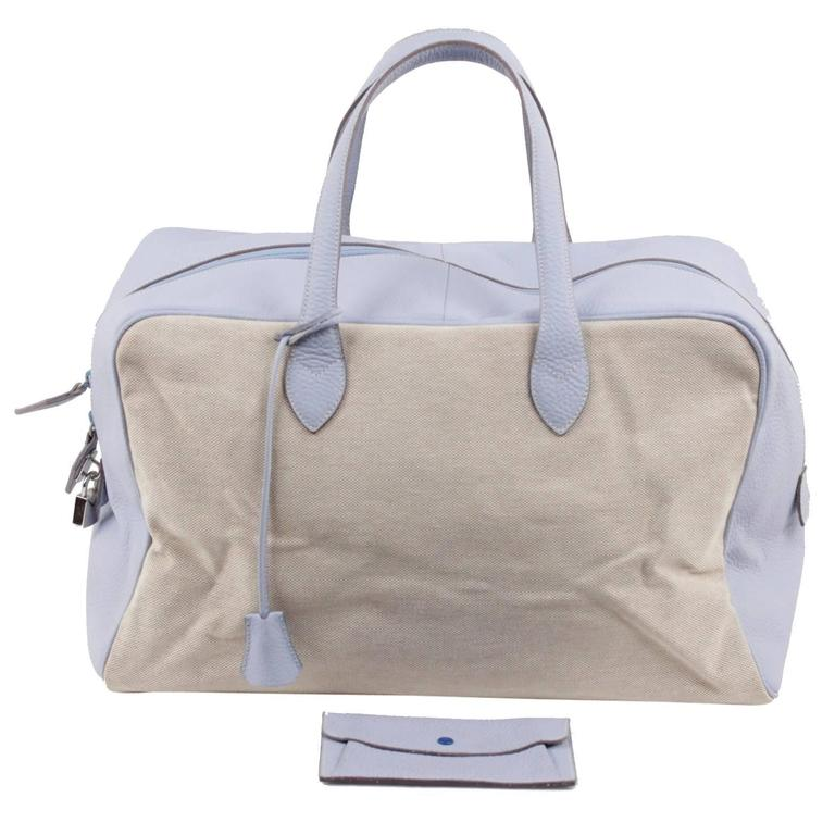 BATTISTONI Beige Canvas & Light Blue Leather TRAVEL BAG Carry On WEEKENDER