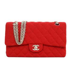 Chanel Red Jersey Medium Double Flap Bag with SHW