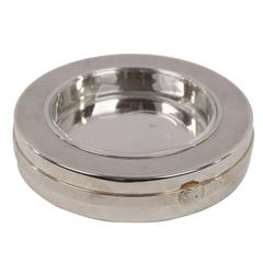 GUCCI VINTAGE Silver Metal ROUND ASHTRAY with Glass Tray