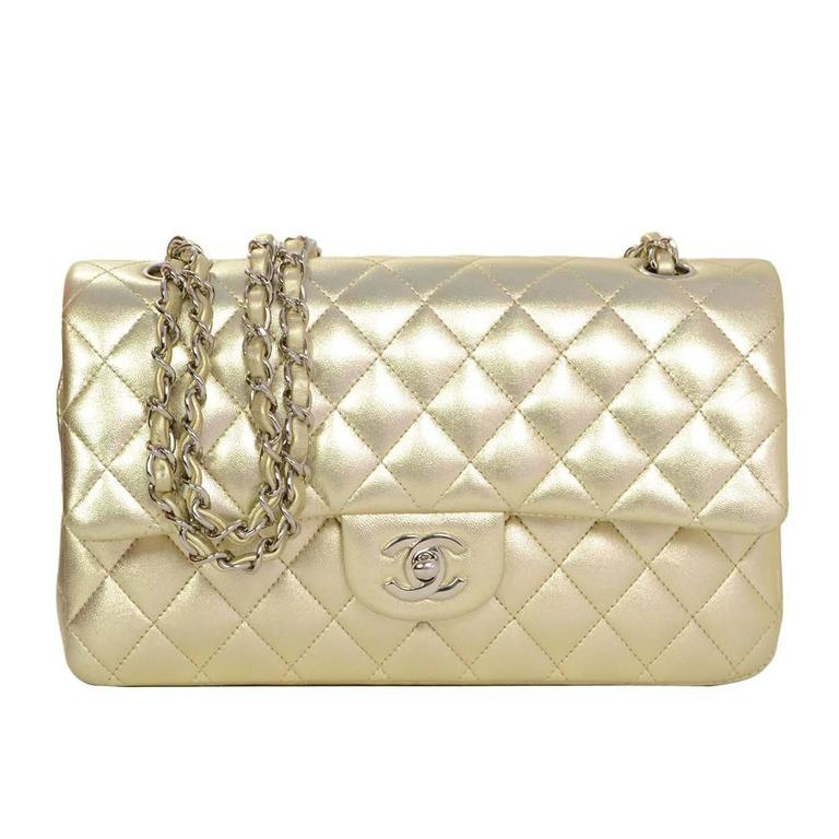 Chanel Gold Quilted Lambskin Medium 10 Double Flap Classic Bag With Shw For