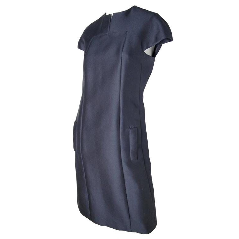 1960s Geoffrey Beene Navy Cocktail Dress -sale For Sale