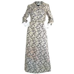 Vintage 1960's Frederick Starke Gold Lamé Brocade Evening Dress & Jacket Set