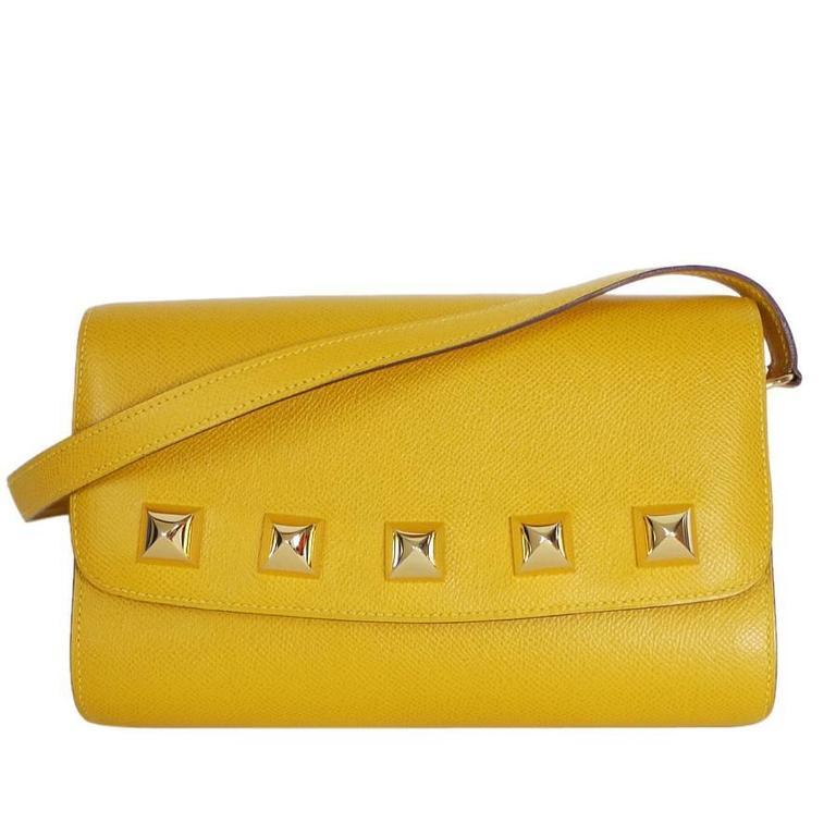 Rare Vintage Hermes Medor 2way Clutch Shoulder Bag Yellow  For Sale