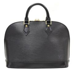 1990s Louis Vuitton Black Epi Leather Alma