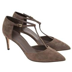 Gucci Grey Suede Heeled Sandals