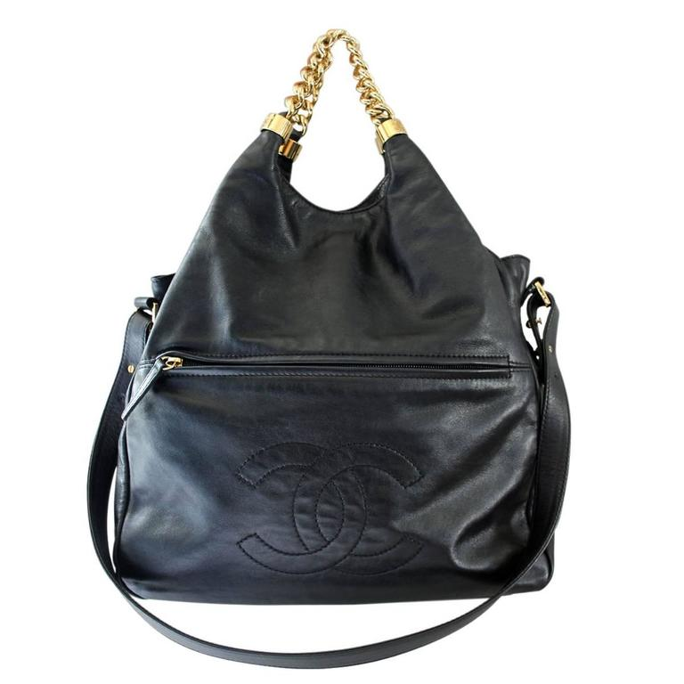 Chanel Black Lambskin Chain Top Slouch Shoulder Bag GHW No. 12