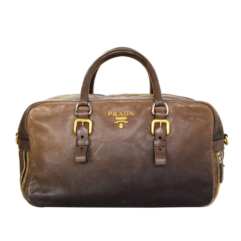 prada black canvas bag - Prada Taupe Ombre Leather Zipper Detail Bag w/ Optional Crossbody ...