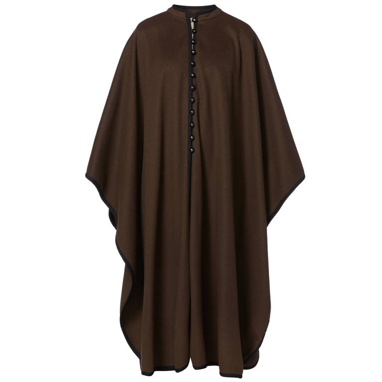 Yves Saint Laurent  brown cape, circa 1976 For Sale