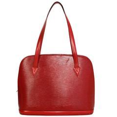 Louis Vuitton Red Epi Leather Vintage Lussac Tote Bag