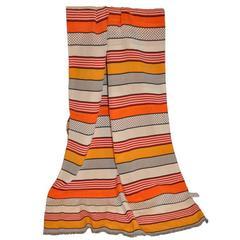 Large Saks Fifth Avenue Multi-Color Stripe Silk Scarf