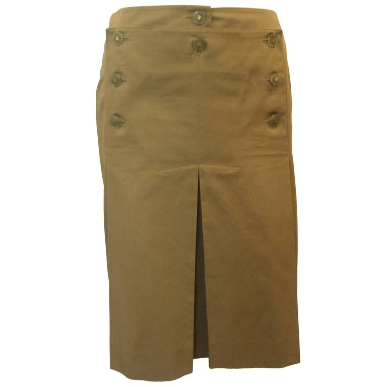 Chanel Olive Skirt with Pleating and Lucite Buttons - 36 - 02 P