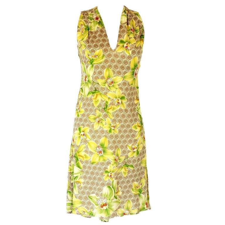 Versace Arabesque Silk Floral Orchid Print Dress