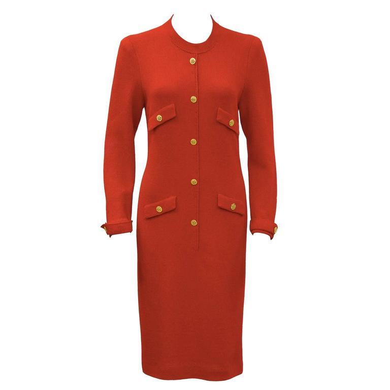 Classic 1970's Adolfo Red Knit Dress