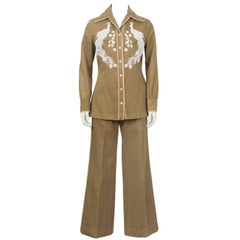 Ladies Hand Beaded Brushed Denim Cowgirl Set, 1960s