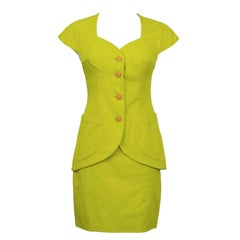 1980's Byblos Chartreuse Cotton Short Sleeve Suit Set