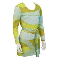 1960's Vera Blue & Green Graphic Print Dress