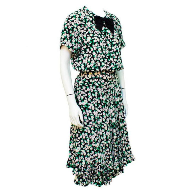 1980's Albert NIpon Floral Silk Day Dress
