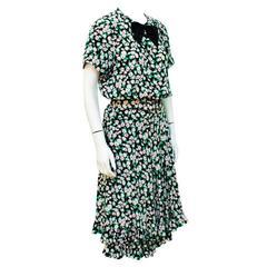 1980's Albert NIpon Floral Silk Day Dress