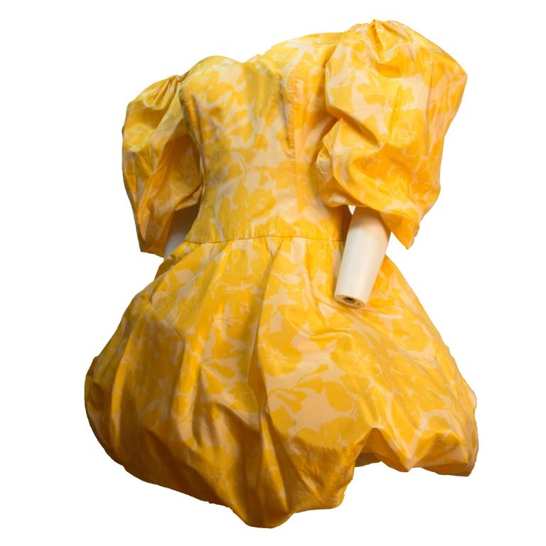 80s Yellow Silk Paulette Buraud Party Dress  For Sale