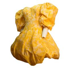 80s Yellow Silk Paulette Buraud Party Dress