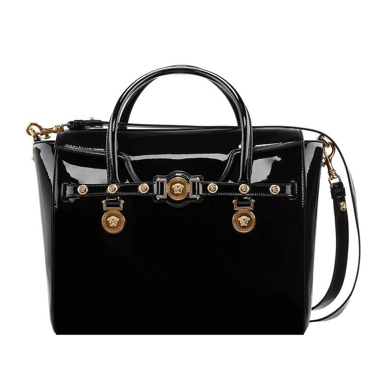 Versace Large Signature Bag In Black Patent Leather For
