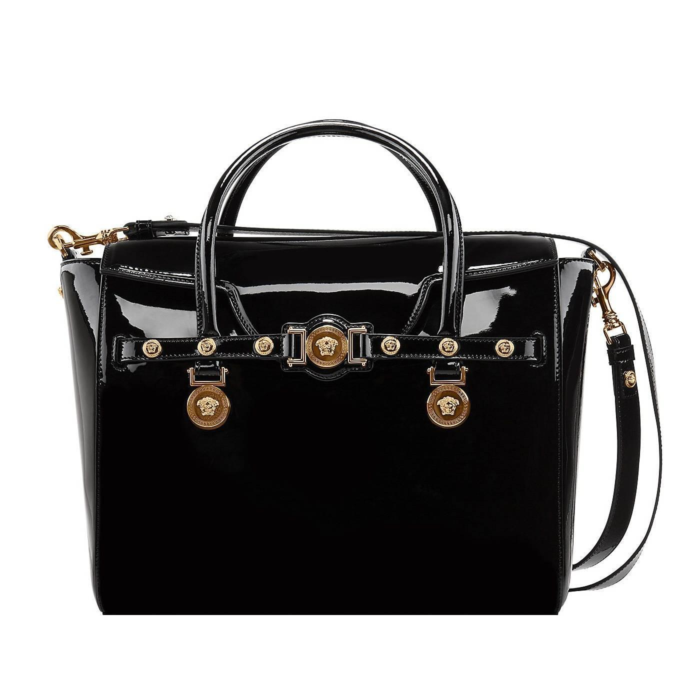 VERSACE Large Signature Bag in Black Patent Leather at 1stdibs d6154253aa86e