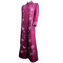 Edwardian Quilted Magenta Embroidered Robe