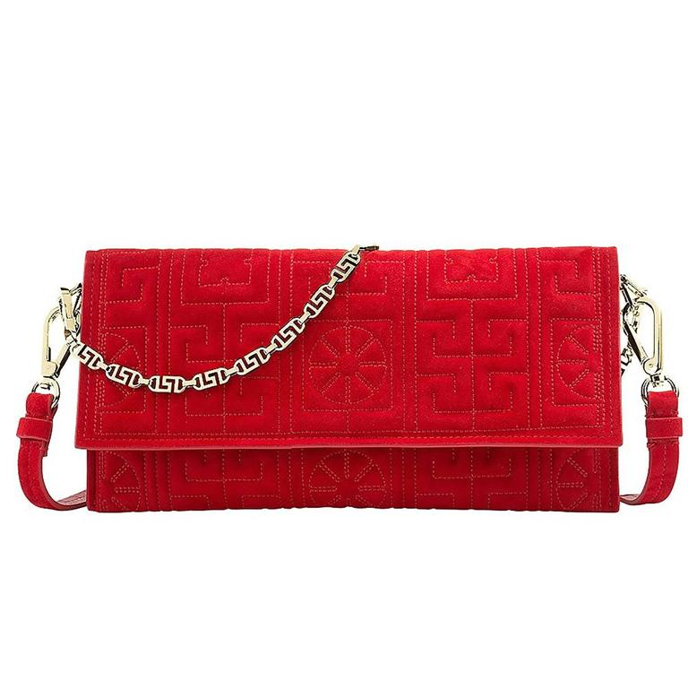 Versace #GREEK red suede leather clutch  1