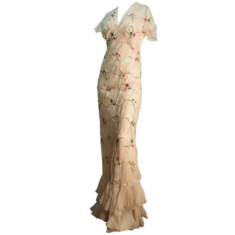 30s Cream Bias Cut Dress with Floral Embroidery and Slip For Sale