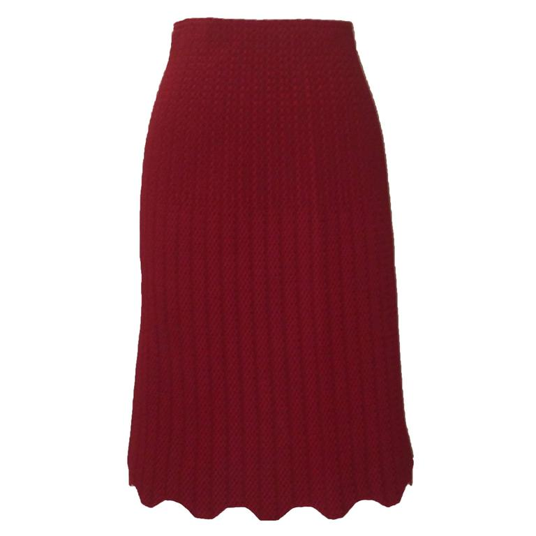 Alaia Recent Red Knit Straight Pencil Skirt New with Tags Scalloped Hem  For Sale