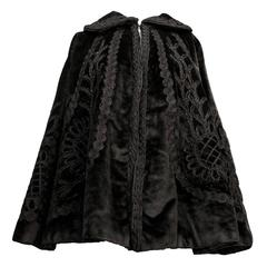 Edwardian Black Velvet Beaded Cape