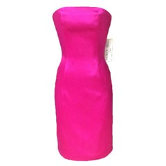 Patrick Kelly Pink Satin Strapless Pencil Cut Cocktail Dress, 1980s