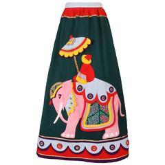 Rizkallah for Malcolm Starr Felted Wool Maxi Skirt w/Elephant & Rider