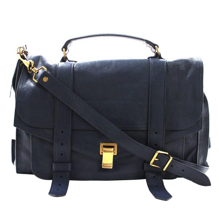 Proenza Schouler PS1 Large Lux Messenger Bag- Midnight Blue Leather 1