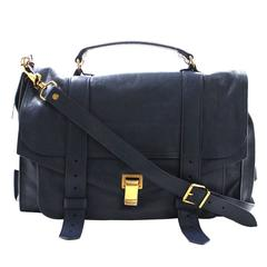 Proenza Schouler PS1 Large Lux Messenger Bag- Midnight Blue Leather