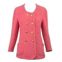 Chanel Pink Boucle Double Breasted Jacket 40