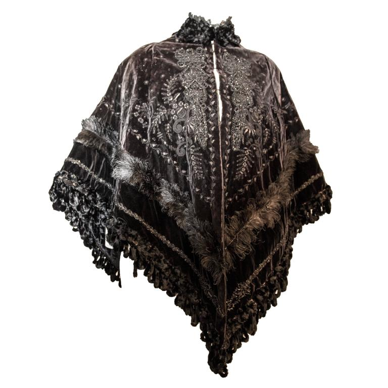 Victorian Velvet Cape with Beaded and Feather Trim For Sale