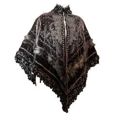 Victorian Velvet Cape with Beaded and Feather Trim