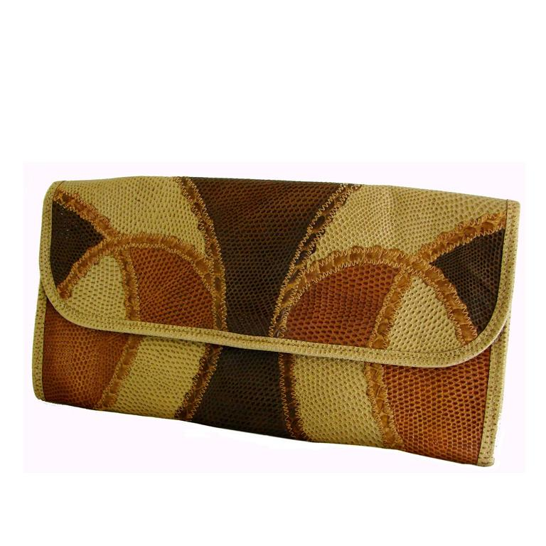 Carlos Falchi Lizard Patchwork Clutch