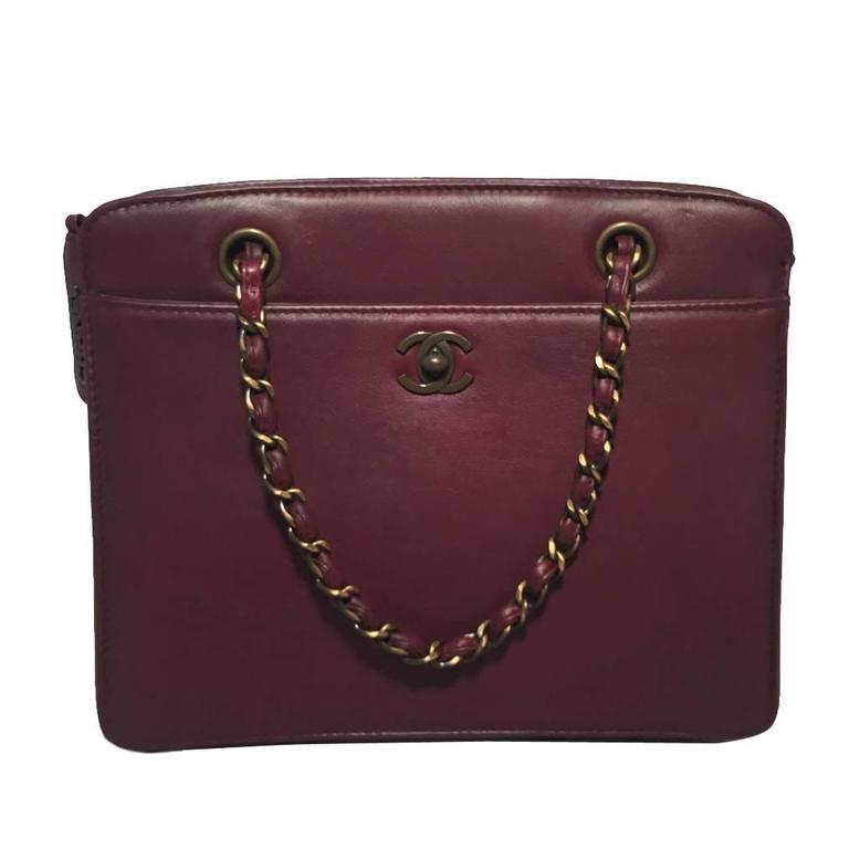 Chanel Maroon Leather Handbag  For Sale