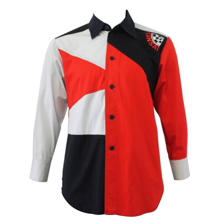 c. 1990 Kansai Yamamoto Geometric Panelled Mens Colour Block Embroided Shirt  1