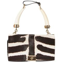 Tom Ford for Yves Saint Laurent S/S 2004 Zebra print Pony fur & Horn Bag