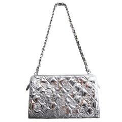 Chanel CC Symbols Metallic Silver Charm Bag 1999