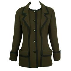 Chanel Olive Wool Ribbon Jacket 38