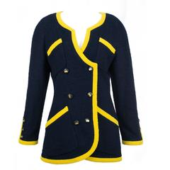 Chanel Boucle Navy Double Breasted Jacket 38