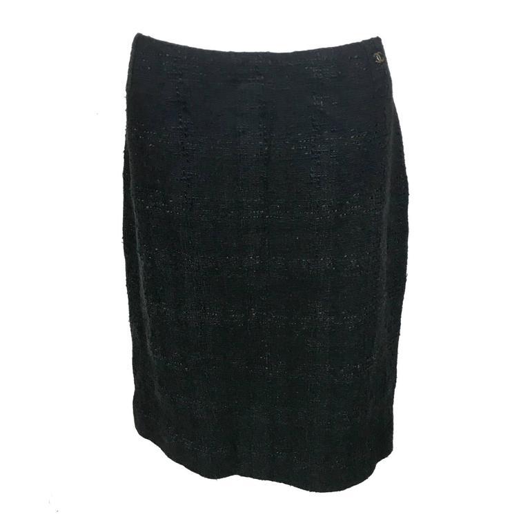 Chanel Black Boucle Skirt