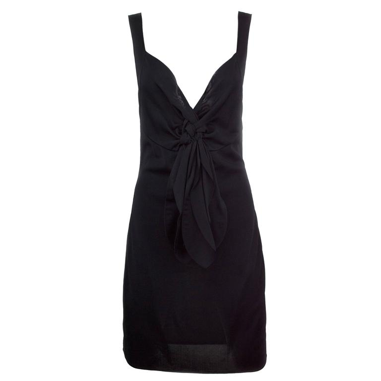 Chanel Black Jersey Fitted Cocktail Dress 42 1