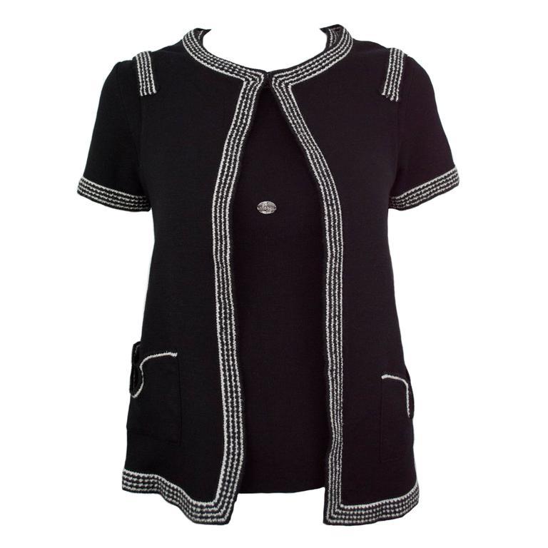 Chanel Black Metallic 2pc Twinset Sweater 36