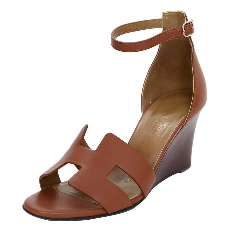 03904936dd0f Hermes Tan Leather H Kessy Wedge Sandals sz 37 For Sale at 1stdibs